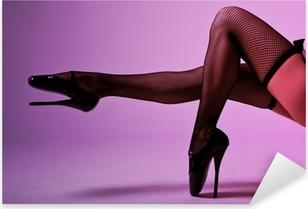 Sticker Pixerstick Sexy jambes féminines en bas résille et le ballet fétiche extrême
