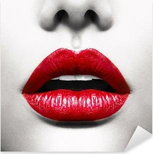 Pixerstick Sticker Sexy Lippen. Conceptuele Beeld met Vivid Red Open Mond