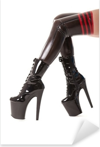Sexy long legs in latex stockings and high heel boots Pixerstick Sticker