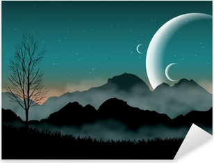 SF space night sky with silhouette mountains and close planets Pixerstick Sticker