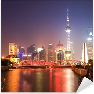 shanghai garden bridge at night Pixerstick Sticker