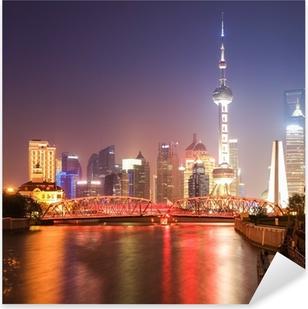 Pixerstick Sticker Shanghai tuin brug bij nacht