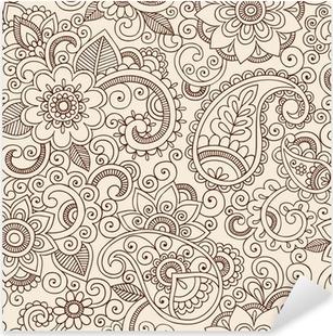 Pixerstick Sticker Sierlijke Henna Paisley Patroon Doodle Vector Design