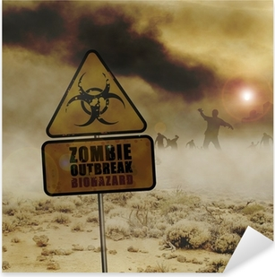 Sticker Pixerstick Signe zombies du désert