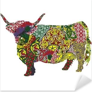 Pixerstick Sticker Silhouet van een Schotse hoogland koe in de Keltische patronen