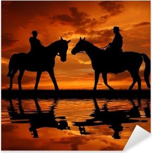 Pixerstick Sticker Silhouette cowboys met paarden in de zonsondergang