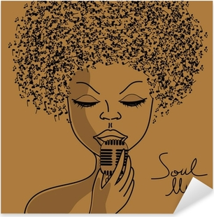Sticker Pixerstick Silhouette de chanteur avec les notes musicales cheveux