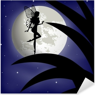 Sticker Pixerstick Silhouette de fée fille sur un fond avec la lune