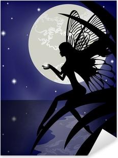 Silhouette fairy girl holding a star Pixerstick Sticker