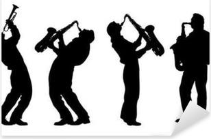 silhouette of jazz musician Pixerstick Sticker
