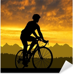 silhouette of the cyclist riding a road bike at sunset Pixerstick Sticker