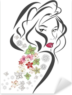 Silhouette of woman with flowers Pixerstick Sticker