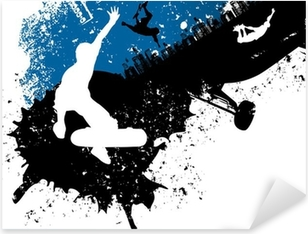 Sticker Pixerstick Skateboard freestyle abstrait