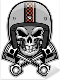 skull and crossed piston Pixerstick Sticker