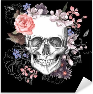 Skull and Flowers Day of The Dead Pixerstick Sticker