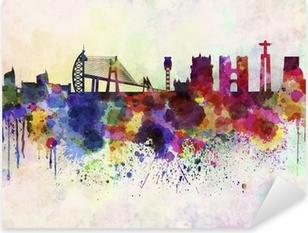 Pixerstick Sticker Skyline van Lissabon in aquarel achtergrond