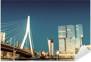 Pixerstick Sticker Skyline van Rotterdam van Erasmusbrug