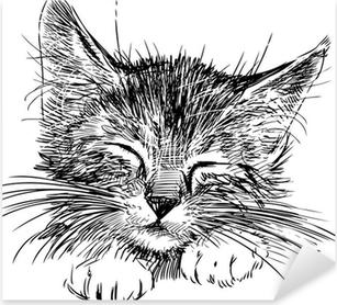 sleeping cat Pixerstick Sticker