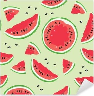 Slice of watermelon / Seamless vector pattern with watermelon slices on light green background Pixerstick Sticker