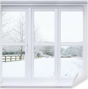Snow Scene Window Pixerstick Sticker