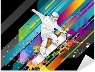 Sticker Pixerstick Snowboarder