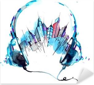sounds of city Pixerstick Sticker