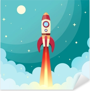 Space rocket print Pixerstick Sticker