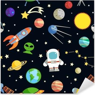 Space seamless pattern Pixerstick Sticker