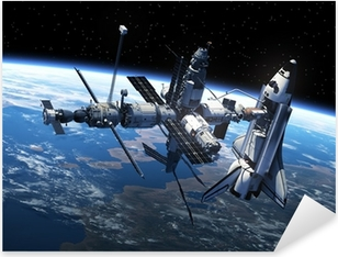 Space Shuttle And Space Station In Space Pixerstick Sticker