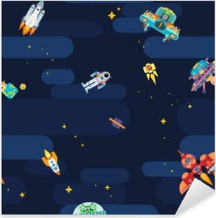Space star pattern astronauts spaceships and flying aliens Pixerstick Sticker