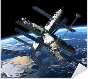 Space Station Orbiting Earth Pixerstick Sticker