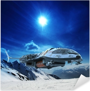 spaceship in snow planet Pixerstick Sticker