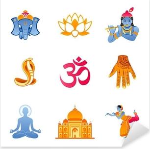 Spiritual, religious and culture icons of India Pixerstick Sticker
