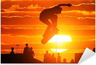 Pixerstick Sticker Springen extreem hoge skateboard skater jongen