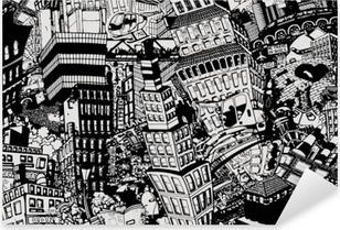 Pixerstick Sticker Stad, een illustratie van een grote collage, met huizen, auto's en mensen