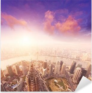 Pixerstick Sticker Stadslandschap van shanghai, mistig en bewolkt