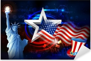 Statue of Liberty with American Flag Pixerstick Sticker