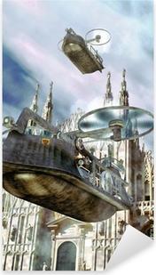 steampunk flying boat ship Pixerstick Sticker