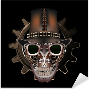 Steampunk skull wearing top hat Pixerstick Sticker