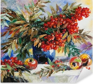 Still-life with a mountain ash and apples Pixerstick Sticker