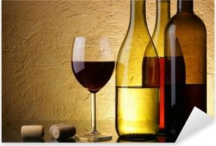 Still-life with three wine bottles and glass Pixerstick Sticker