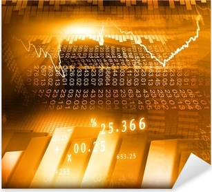 Stock Market Graph and business Bar Chart. Pixerstick Sticker