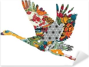 Pixerstick Sticker Stork in het Japans ornament