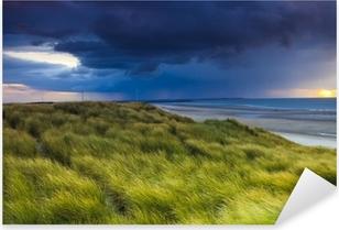 Pixerstick Sticker Stormclouds over de duinen van Zeeland in Nederland