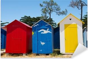 Pixerstick Sticker Strandhuisjes op eiland Oleron in Frankrijk