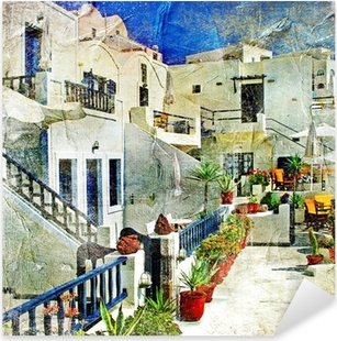 Pixerstick Sticker Straten van Santorini - illustraties in stijl schilderen