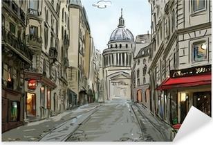 Street in paris - illustration Pixerstick Sticker