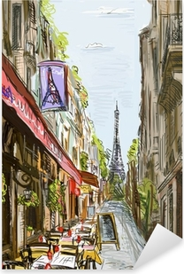 Street in paris - illustration Pixerstick Sticker