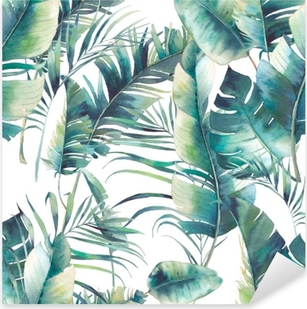 Summer palm tree and banana leaves seamless pattern. Watercolor texture with green branches on white background. Hand drawn tropical wallpaper design Pixerstick Sticker