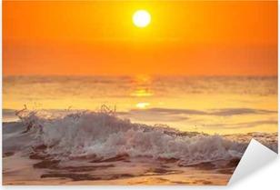 Sunrise and shining waves in ocean Pixerstick Sticker